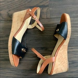 Coach New York leather wedge heels sandals 7.5